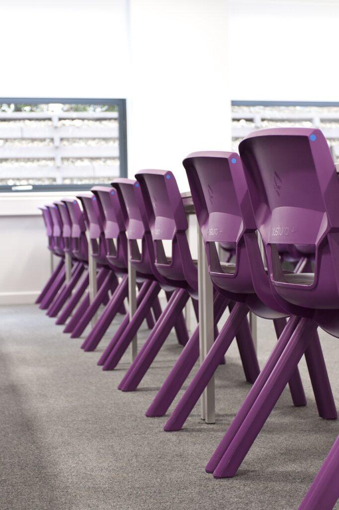 classroom, purple, chairs